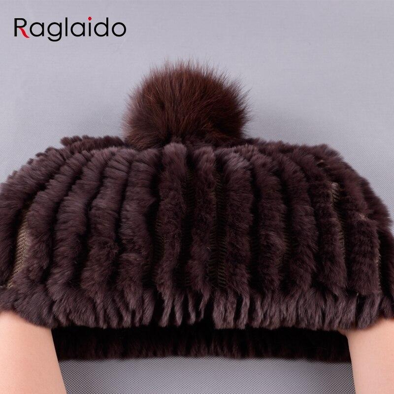 Image 5 - Raglaido Knitted Pompom Hats for Women Beanies Solid Elastic Rex Rabbit Fur Caps Winter Hat Skullies Fashion Accessories LQ11219pompom hatfashion winter hatwinter hat -