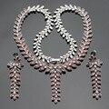 ASHLEY Planta En Forma de Red Creado Granate AAA Circón Joyería de Plata de Color Para Las Mujeres Collar Colgante Pendientes de Gota Largos