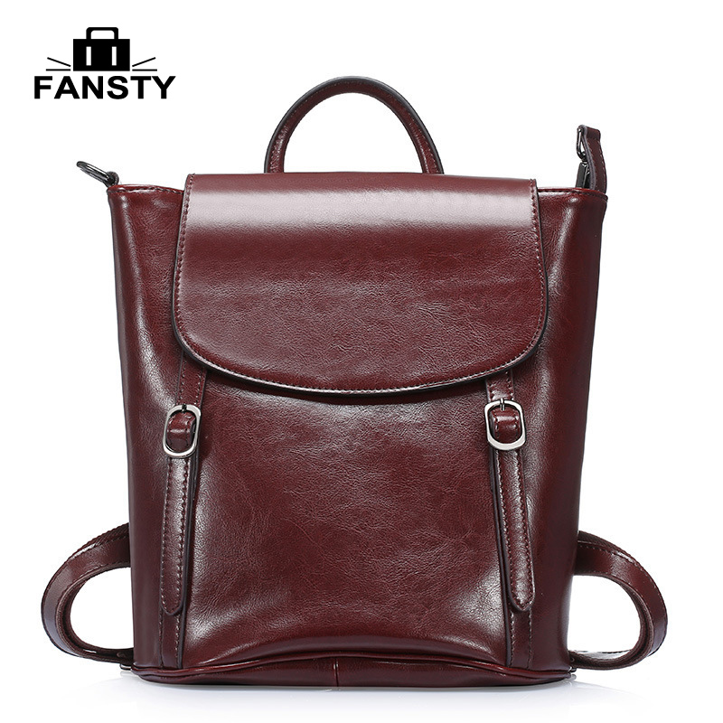New Women Real Cow Genuine Leather Women Backpacks Retro Style Multi Functional Fashion Girls Boys School Bags Travel Backpack