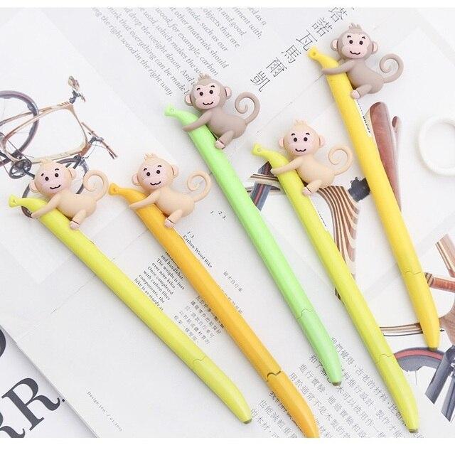 5 pcs Cute monkey gel pen Yellow Banana 0 5mm Black color