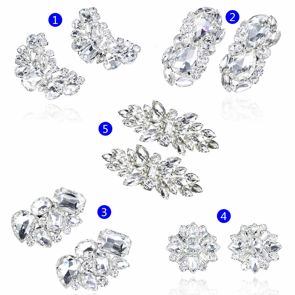 2pcs Shoe Clip Wedding Shoes Decoration DIY Clothing Women High Heels Buckle Clips Rhinestone Fashion Decorative 5 Types