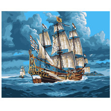 WEEN Sailboat DIY Painting by Numbers kit for Adults, Oil Paint Number Kit on Canvas Beginners, Acrylic 40x50cm