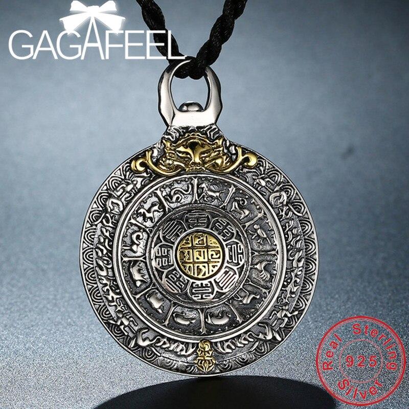 GAGAFEEl 100% véritable 925 argent Sterling Vajra collier pendentifs pour hommes Vintage bijoux en argent de haute qualité