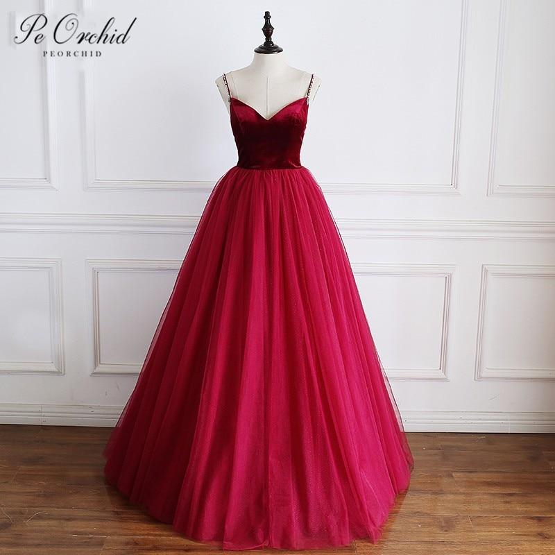 PEORCHID 2019 Beaded Spaghetti Straps   Evening     Dress   Burgundy Tulle Velvet Floor Length A Line Party Long Formal Gowns Women