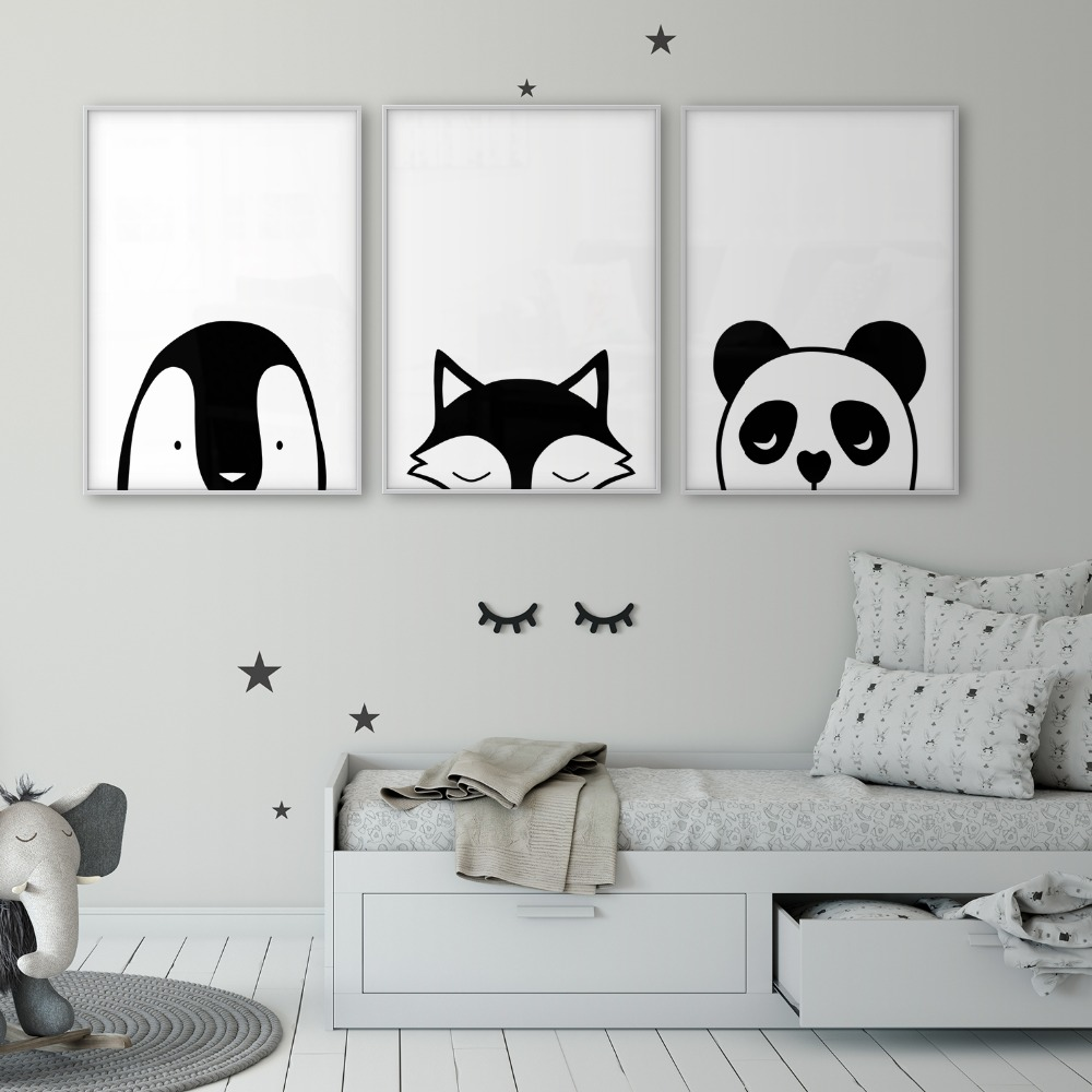Us 2 5 50 Off Fox Penguin Panda Children S Art Print Baby Room Poster Black White Nursery Wall Woodland Animal Nordic Kids Canvas In