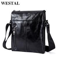WESTAL Men Bag Messenger Bags Genuine Leather Small Flap Crossbody Bags For Men Shoulder Fashion Business