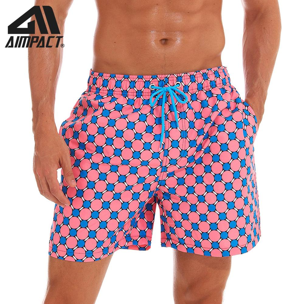 Aimpact Mens Board Shorts Grid Print Quick Dry Summer Beach Swim Shorts Fashion New Surf Hawaii Mesh Lining Liner Trunks AM2191