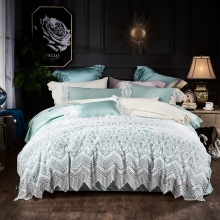 Light Green Blue Gray Luxury White Lace Embroidery Egyptian Cotton Princess Girl Bedding Set Duvet cover Bed sheet Pillowcases