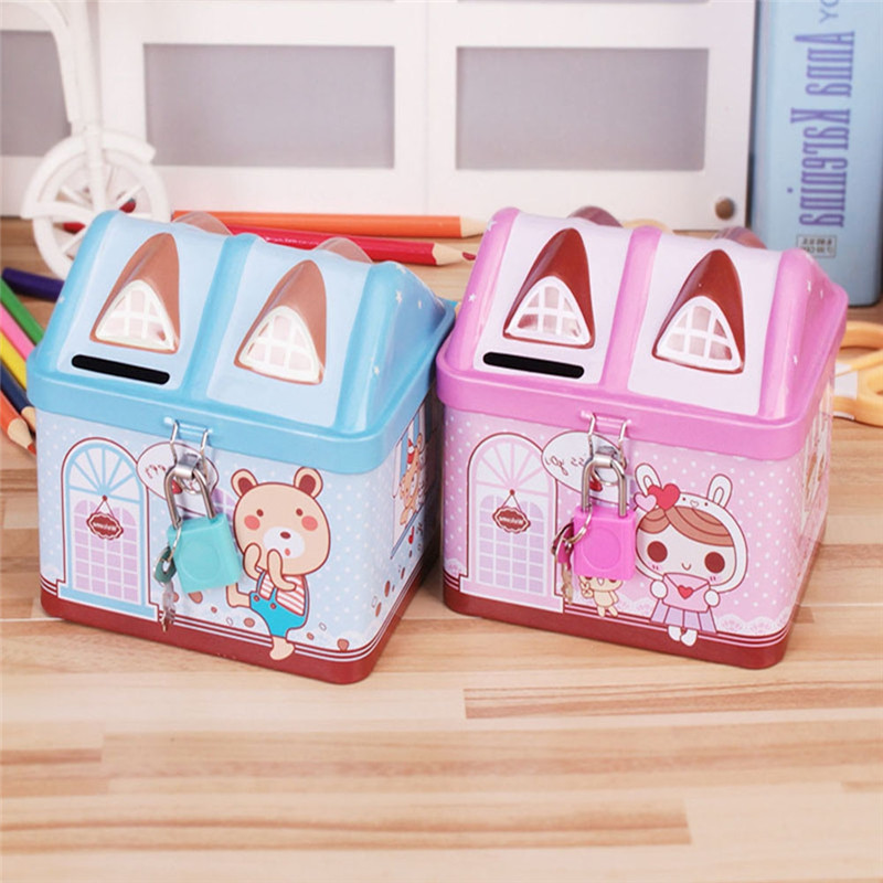 1Pc Imixlot Cartoon Small Cute House Shaped Tinplate Piggy Bank Creative Saving Bank Best Gift for Children Kids