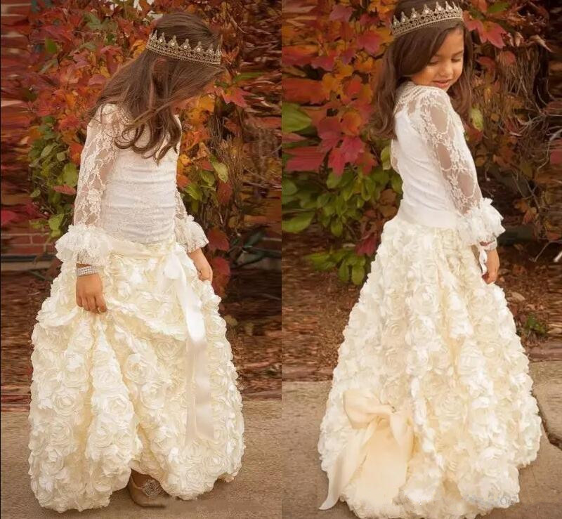 Vintage Princess Long Sleeve Flower Girl Dresses for Wedding Ruched Lace Girls Wedding Party Gowns Custom Any Size