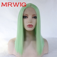 MRWIG light green 12 16in short bob straight synthetic glueless front lace wig middle part for woman