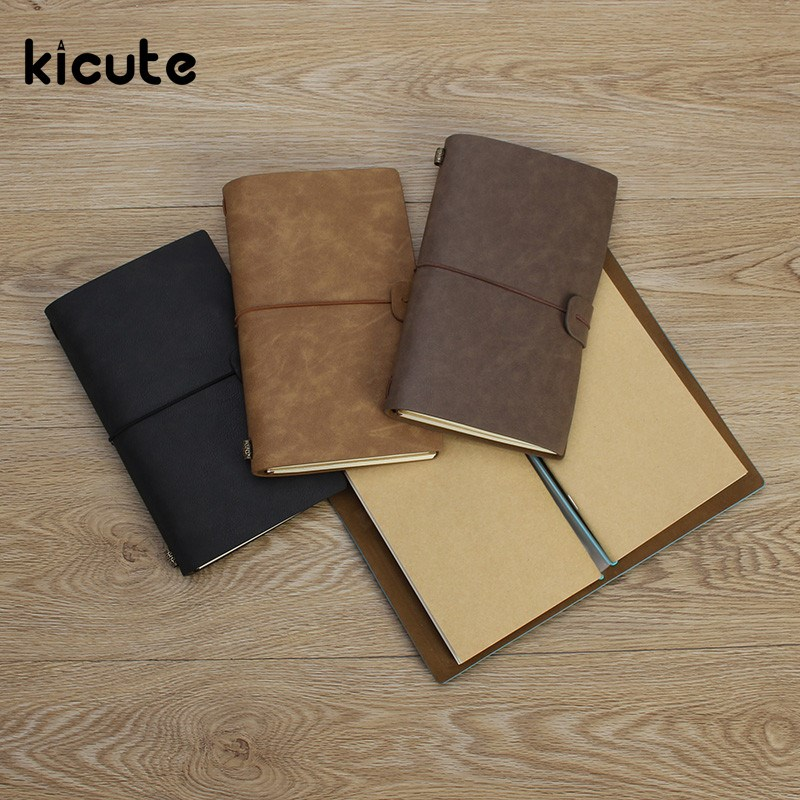 Kicute Retro Leather Cover Notebooks Diary Journals Agenda Blank Kraft Paper Sketchbook Handmade Travel Notebook Gift