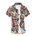 2016 Fashion Mens Short Sleeve Hawaiian Shirt Summer Casual Floral Shirts For Men Plus Size M-7XL Beach Shirts