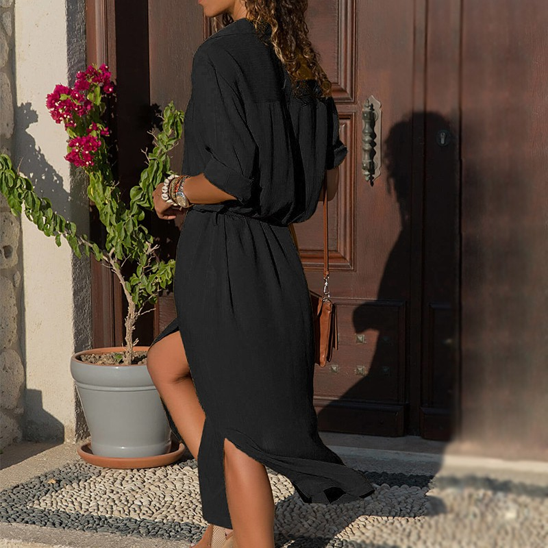 DeRuiLaDy 18 New Fashion Women Casual Long Dress Women Autumn Winter Long Sleeve Button Shirt Maxi Dresses Ladies Vestido 10