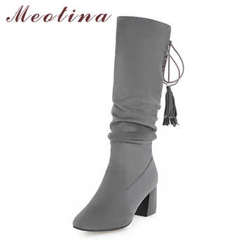 Meotina Winter Women Knee High Boots Fashion Tassel Thick Heels Fringe Western Boots Lace Up Lady Long Shoes Brown Black 34-43 - DISCOUNT ITEM  48% OFF Shoes