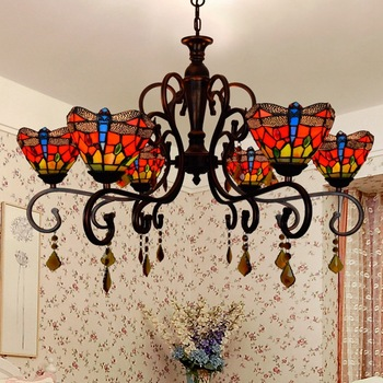 Ruang tamu gaya Dragonfly bedroom Kristal Lampu chandelier Eropa Vintage Tiffany Stained glass art Parlor 8 lampu E27