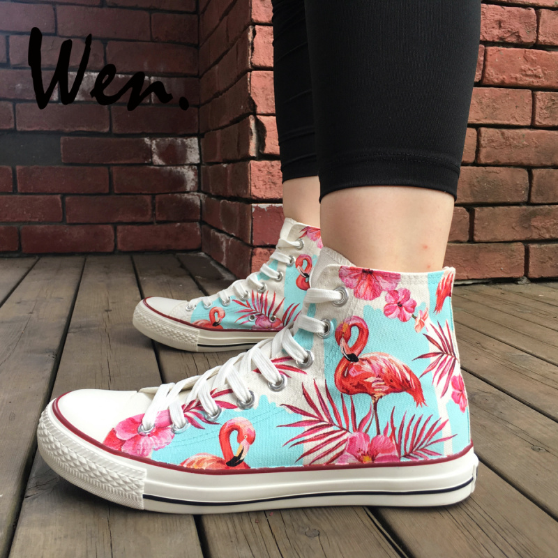 Wen Hand Painted Skateboarding Shoes Design Fluorescent Pink Flamingos Palm Leaves Flowers High Top Canvas Sneakers Unique GiftsWen Hand Painted Skateboarding Shoes Design Fluorescent Pink Flamingos Palm Leaves Flowers High Top Canvas Sneakers Unique Gifts