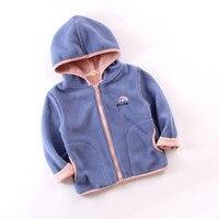 Autumn children outerwear coat 2 6t kids fleece hooded coats solid color unisex children jackets toddler coat girl coats kids