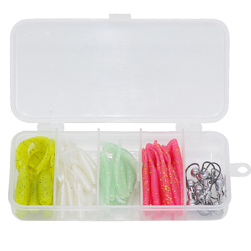 Kit Leurre de pêche 45mm 0.2g avec 10 crochets appât souple Leurre de pêche grossistes Pesca Leurre Brochet pêche Mer