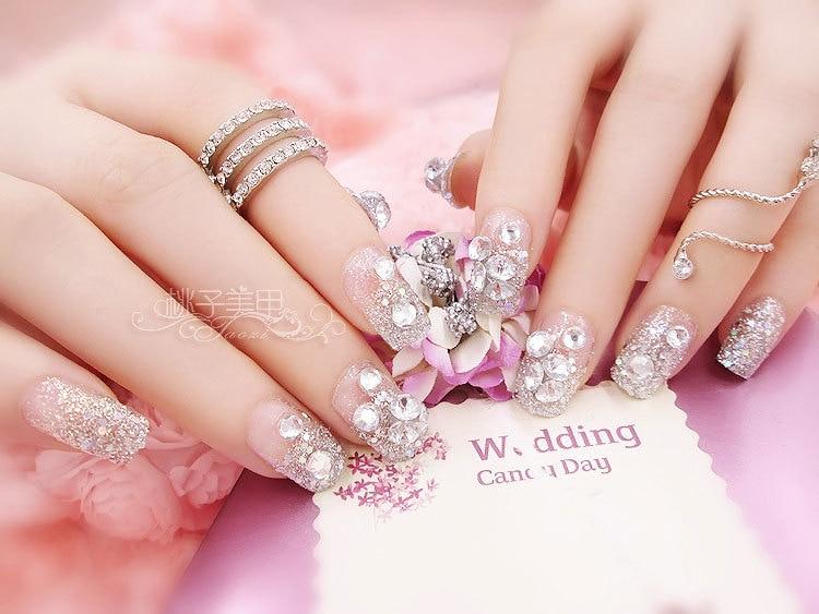 bijoux pour ongles cat\'s eye bling Rhinestone 24pcs Nail patch nail ...