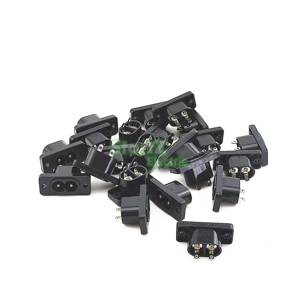 IEC320 C8 Black 2 Terminal Power Plug Inlet Socket AC 250V 2.5A  20 Pcs viborg audio 24k gold plated iec ac inlet iec input socket solder screws locking inlet
