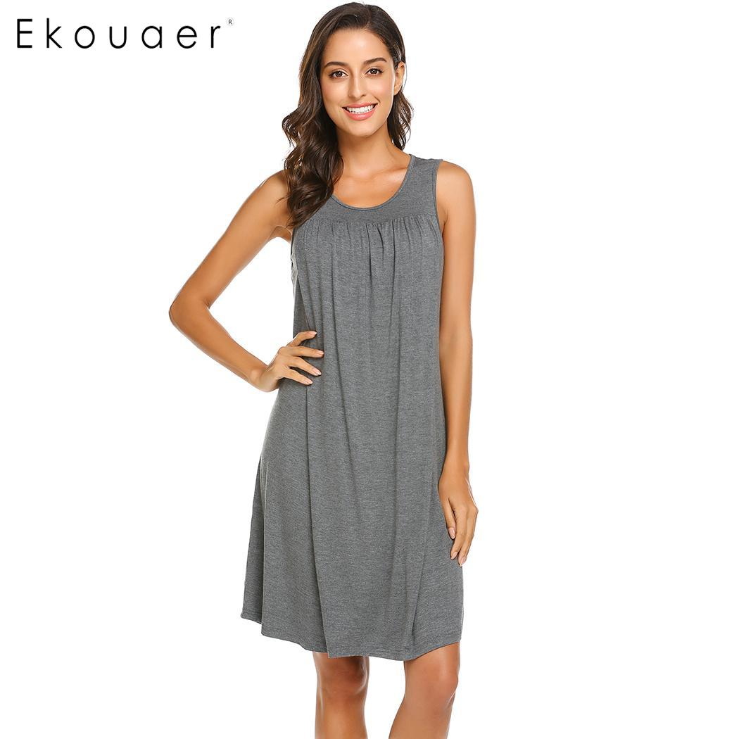 Ekouaer Soft Nightgown Women Summer Homewear Dress O-Neck Sleeveless Maternity Nursing Night Dress Sleepwear Lounge Clothing