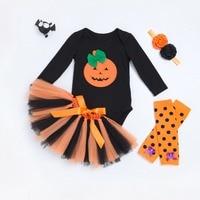 Cadılar bayramı bebek siyah pamuk bodysuits + dantel tutu etek + şapkaya + turuncu diz kol 4 adet bady kız parti giysi 17S907
