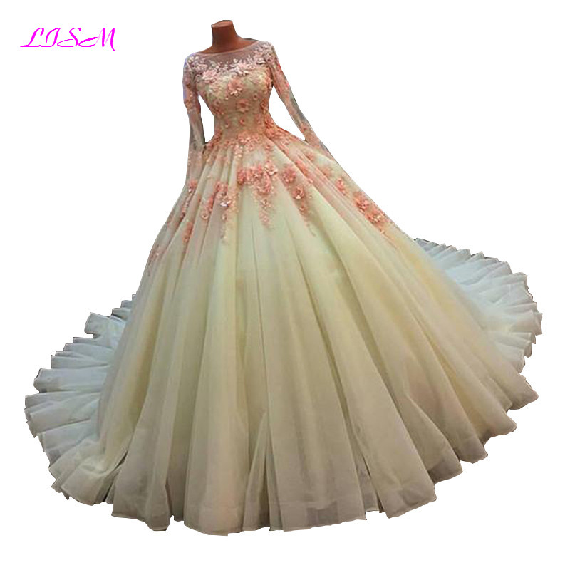 Luxury Ball Gown Princess Wedding Dress Long Sleeves Lace Appliques Tulle Party Dresses Vintage Formal Gowns robe de mariee