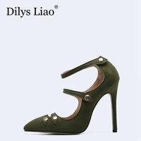 Dilys Liao Vintage Metal Decoration Button Buckle Strap Point Toe Stiletto High Heels Shoes Woman Pumps
