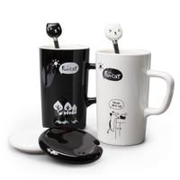 Cute Fun Cat Style Ceramic Mugs with Lid & Spoon Cartoon Creative Moring Mug Milk Coffee Tea Unique Porcelain Mugs 350ml SH209C