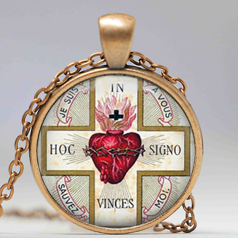 Sacred heart pendant necklace sacre coeur flaming heart jesus sacred heart pendant necklace sacre coeur flaming heart jesus christ religious necklaces pendants in pendant necklaces from jewelry accessories on aloadofball Images