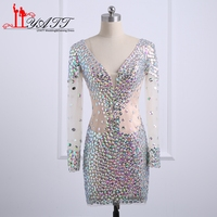 Sparking Short Cocktail Party Dresses Sexy Deep V Neck Long Sleeve Open Back Women Formal Party Gown Custom Made