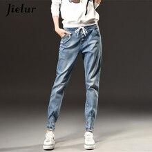 Jielur Осенне-зимние модные джинсы с высокой талией женские большие размеры s-5xl Досуг Тонкий для женщин с эластичным поясом винтажные Брюки Харлан Женские джинсы