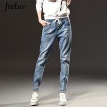 53e44e2af Outono Inverno Moda Cintura Alta Jeans Mulher Tamanho Grande S-5XL Lazer  Harlan Calças Jeans Mulheres Fino Elástico Na Cintura D..