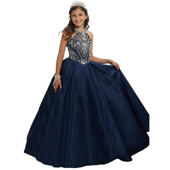 halter navy girls pageant dresses beaded kids evening gown fantasia infantil para menina children fancy little girls party dress