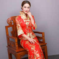 15efb11bb3c92 Red Sexy Wedding Dress Vintage Cheongsam Qipao Long Traditional Chinese  Dresses Women Phoenix Embroidery Bride Traditions