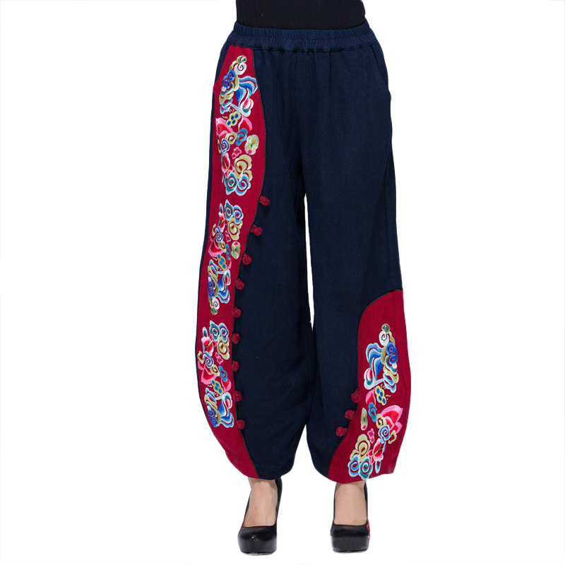 Blue Handmade Button Women Embroidery Trousers Chinese Style Flower Elastic Waist   Pants   Hot Sale Loose   Wide     Leg     Pant   L-XL