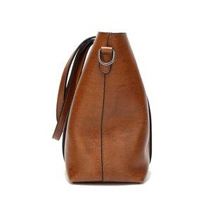 Image 3 - 高級婦人用バッグオイルワックスレザーショルダーバッグ財布ポケットの女性のハンドバッグ女性のメッセンジャーバッグビッグトートバッグbolso feminina