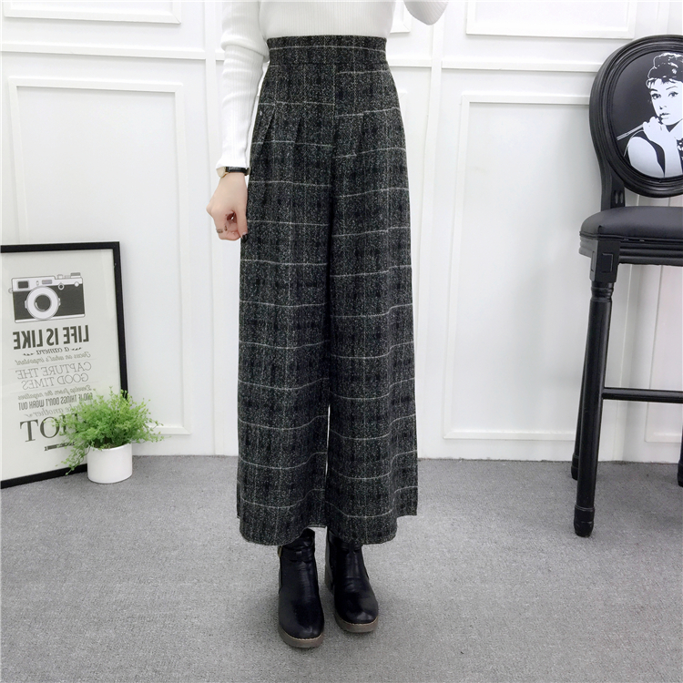 ZHISILAO Loose Trousers Women Winter Warm Wool Wide Leg Pants Maxi Plaid High Waist Trousers Elastic Thick Black Pants Casual 18