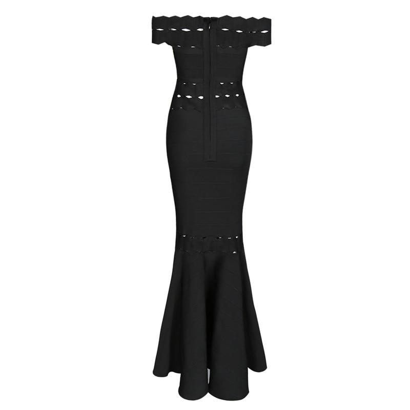 Celebrity Slash Dames Qualité De Robes Bandage Cou Partie Noir Haute Soirée Sexy Black Élégante Longue Femmes Rayonne Robe q1Owxw0X