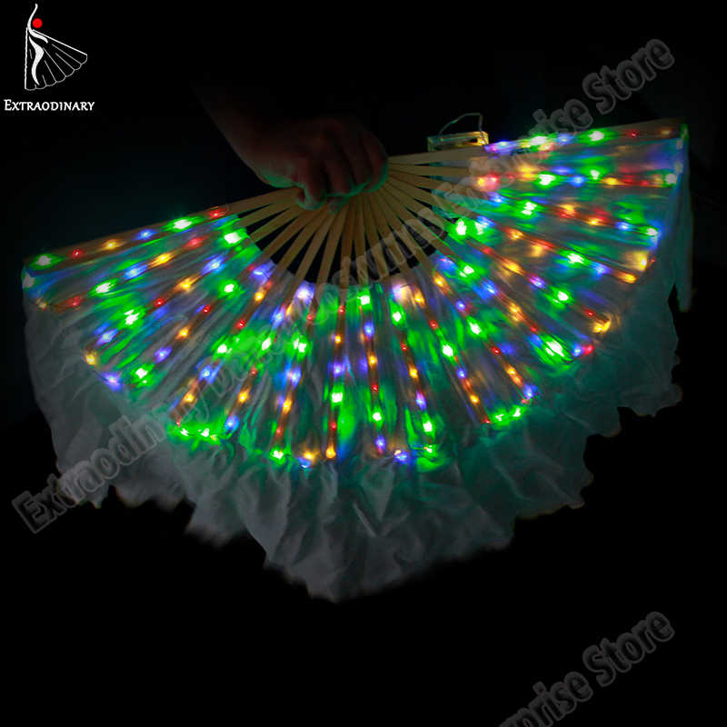 New Belly Dance Led Silk Fan Veil Fans Shiny Pleated Festival Carnival Dance Costume Accessories Stage Performance Props