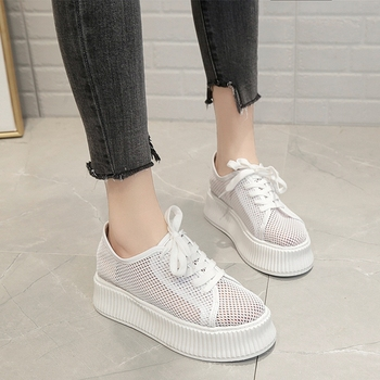 COOTELILI Summer Sneakers Women Pumps Platform Casual Shoes Woman Creepers Oxfords Lace up Breathable Mesh Hollow Black