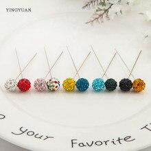 TZ7  12 Pcs Set New Fashion Crystal Ball Brooch Pin Muslim Hijab Scarf Pins Clip Wedding For Women