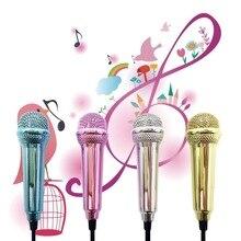Портативный алюминиевый сплав Мини 3,5 мм проводной микрофон для мобильного телефона, планшета, ПК, ноутбука, речевое пение, караоке для IPhone