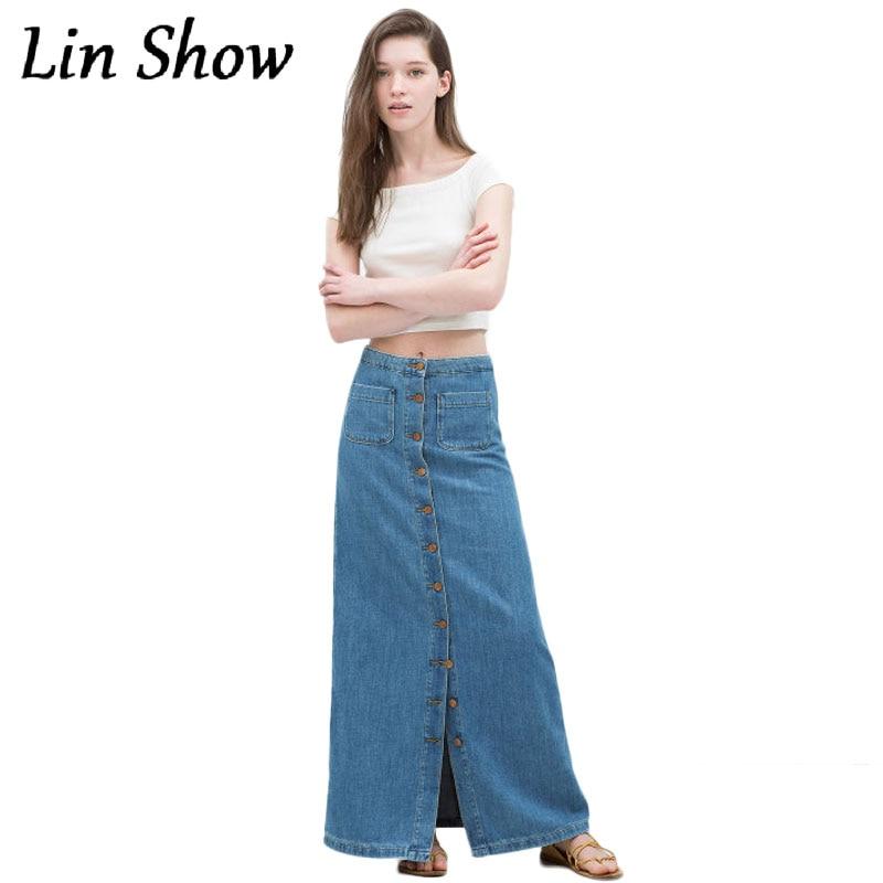 Women Long Denim Skirt Single Breasted England Style Floor Length Ladies Jeans Skirts Retro Design Blue High Waist Female In From Womens