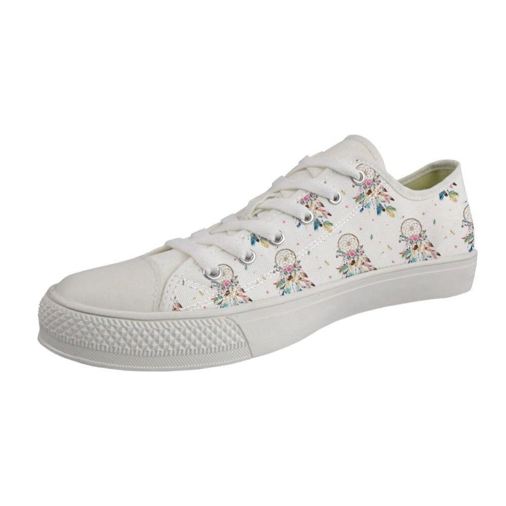 Customized Fashion Women Canvas Shoes Cartoon Dreamcatcher Pattern Lace Up Girls Vulcanize Shoes Woman Low Causal Flats Shoes