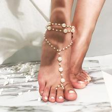 Fashion Beach Beaded Anklets Simple Multi-layer Pearl Yoga for Women New Summer Anklet