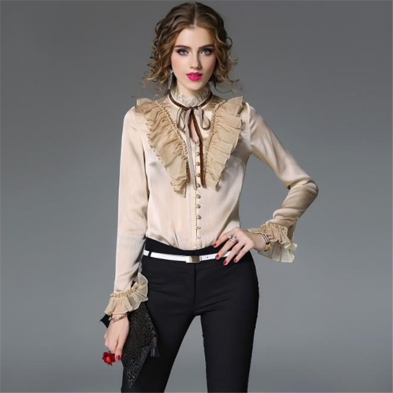 Merry Pretty 2019 New High Quality Luxury   Blouse     Shirt   Women OL Elegant Ruffles Bow Petal Long Sleeve Ladies' Chiffon   Blouses