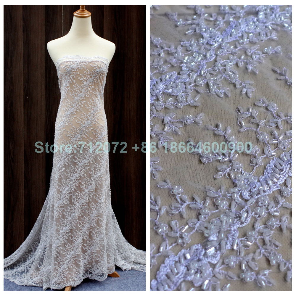 New off white heavy beaded fashion thread hight quality for Wedding dress lace fabric