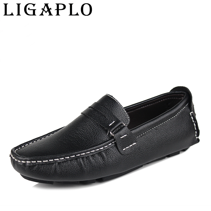 men flats new font b best b font quality Genuine Leather casual shoes Soft male Loafers